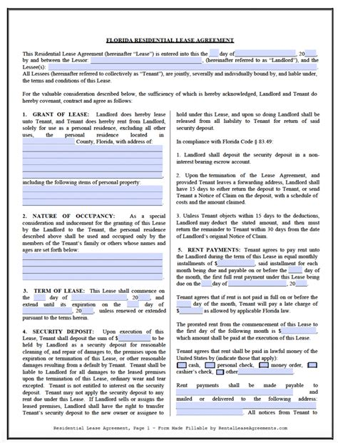 free florida residential lease agreement template pdf word