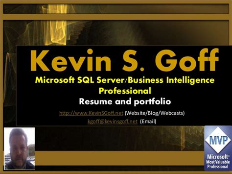Snhu Mba Business Intelligence Sql by Resume And Portfolio Kevin S Goff