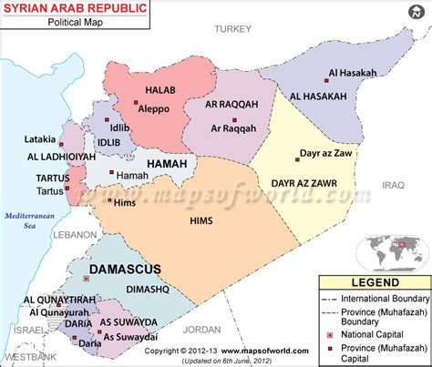 syria map of political map of syria syria provinces map