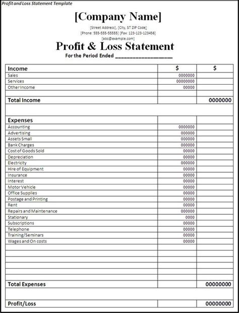profit and loss statement form printable on the