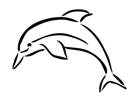 simple outline jumping dolphin tattoo design