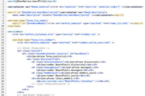 html code for homepage template styling reference xenforo