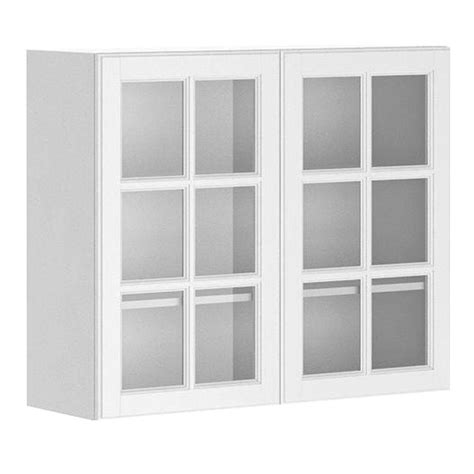 Glass Door Kitchen Cabinet Fabritec Ready To Assemble 36x30x12 5 In Birmingham Wall Cabinet In White Melamine And Glass