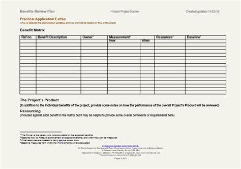benefits realization plan template prince2 benefits realisation plan template images
