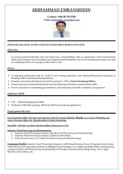 supply chain management resume lovely procurement manager resume