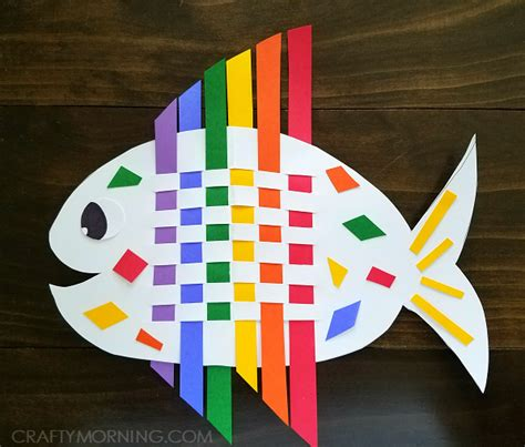 Construction Paper Crafts For Kindergarten - weaving rainbow fish family crafts