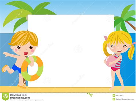 imagenes de niños jugando en verano ni 241 os y marco del verano ilustraci 243 n del vector imagen de
