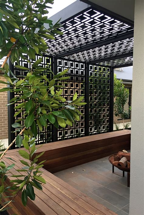 patio pergola decorative laser cut screens add shade