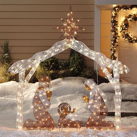 Outdoor Nativity Sets Lighted Nativity Set Best Outdoor Decorations Manger Stable Joseph Baby