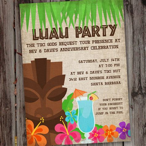 printable birthday invitations luau hawaiian luau printable birthday party invitation