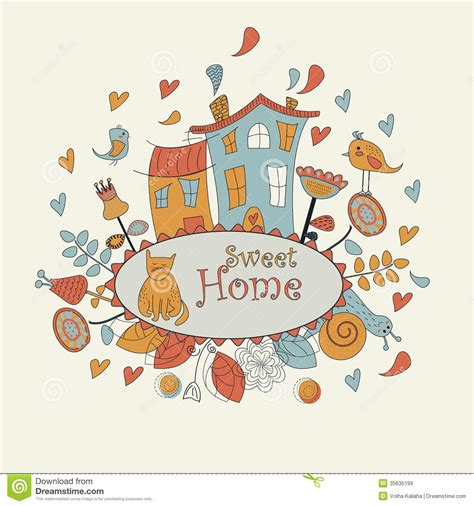 Cute Small House Plans Sweet Home Background Stock Vector Illustration Of