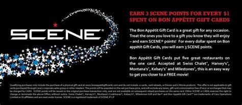 Bonappetit Gift Card - earn 3 scene points for every 1 spent on bon appetit gift