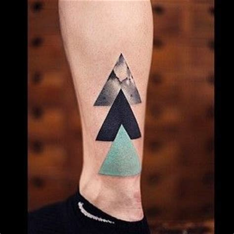 triple triangle tattoo three triangles on ankle sacred geometry dez