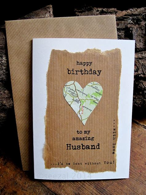 Handmade Cards For Husband - birthday card husband with vintage map personalised