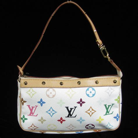 louis vuitton murakami studded white monogram pochette