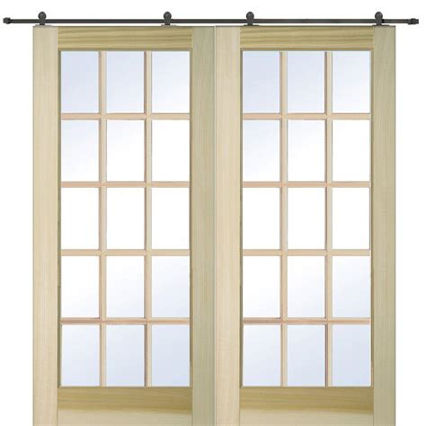 Small Barn Door Hardware Mmi Door 72 In X 80 In Poplar 15 Lite Door With Barn Door Hardware Kit Z009644 The