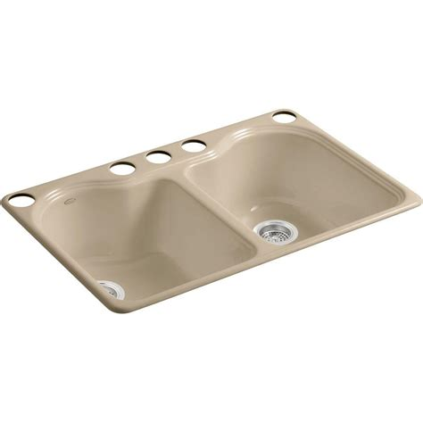 kohler wheatland undermount cast iron 33 in 5 hole double