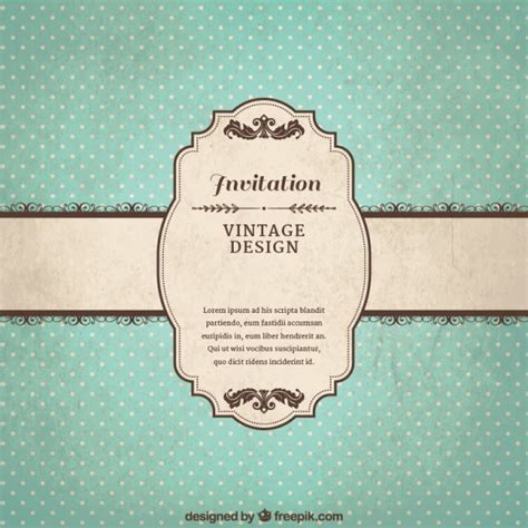 vintage invitations vintage invitation template vector free