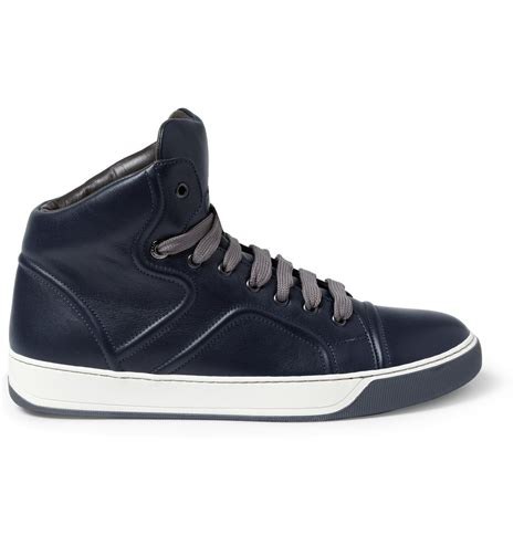 lanvin sneakers lanvin leather high top sneakers in blue for lyst