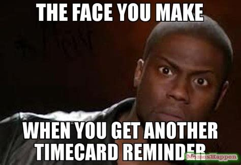 Reminder Meme - the face you make when you get another timecard reminder