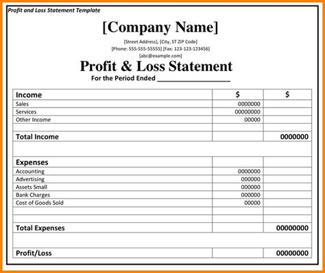 simple profit loss statement template simple profit and loss template 28 images 9 simple