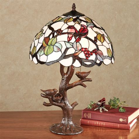 Accent Table Lamps Sitting Pretty Bird Stained Glass Lamp With Bulbs