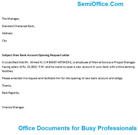 Request Letter Activate Bank Account Bank Account Opening Letter For Company Employee