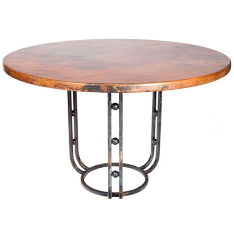 round copper table top clayton iron dining table with 54 quot round hammered copper top