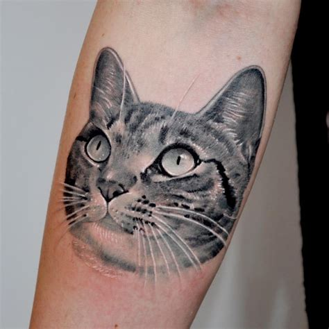 Cat Tattoo Black And Grey | black and gray cat portrait tattoo by nate beavers tattoos