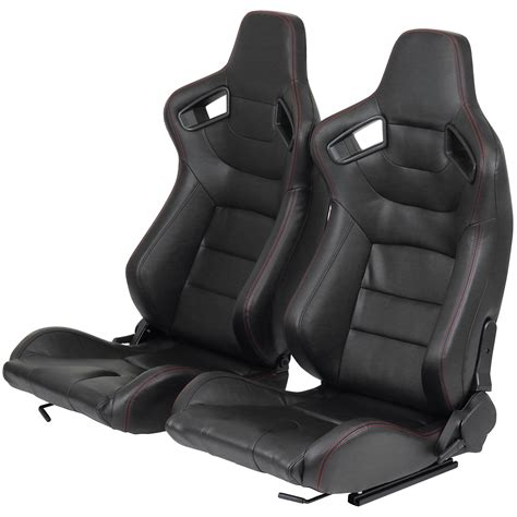 fully reclining seats pair of black pvc leather fully reclining car seats