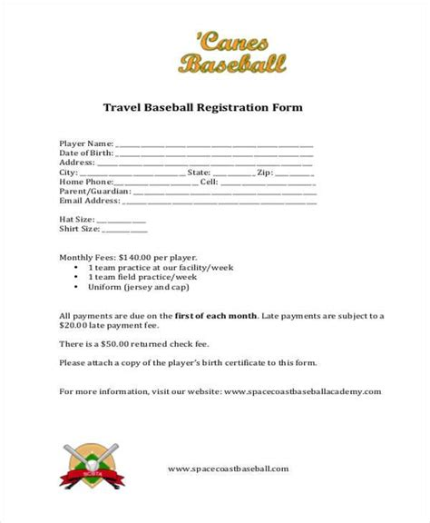 baseball registration form template registration form templates