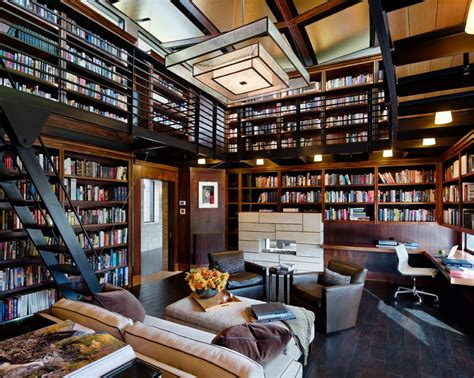 modern home library design ideas contemporary home decorating a library home office contemporary with black