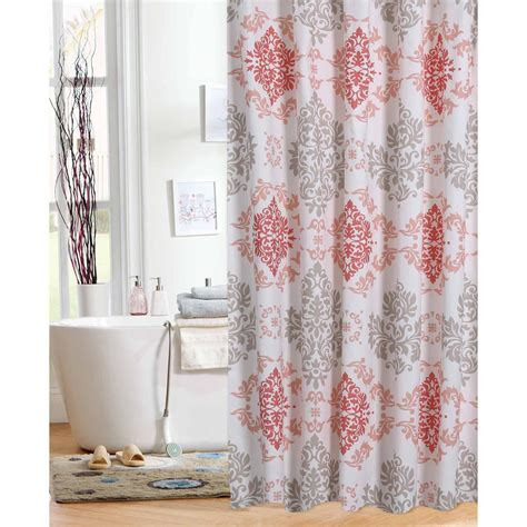 coral shower curtain mainstays shower curtains walmart com coral damask curtain