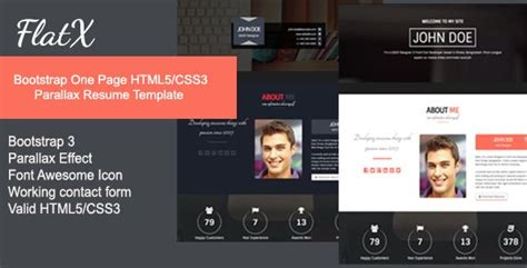 bootstrap themes review review flatx bootstrap onepage parallax resume