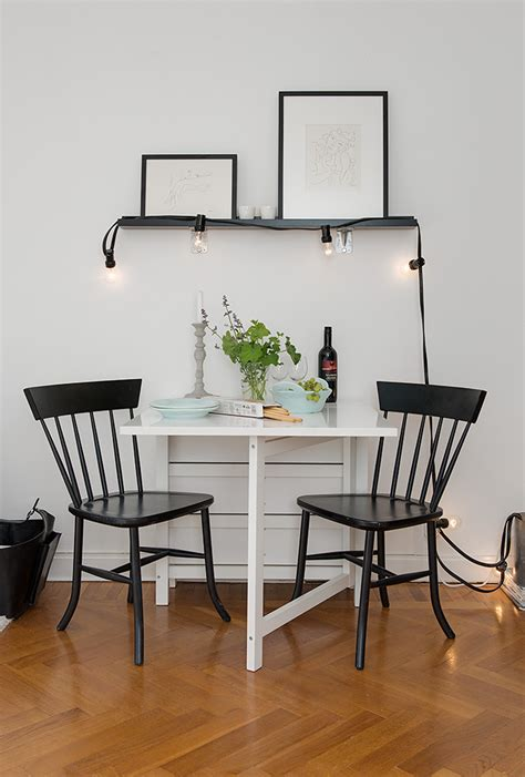 dining room small dining table black chairs tiny apartment