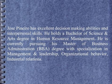 Mba In Fashion Management In Canada by Jose Pineiro Is A Human Resource Manager At A Leading It