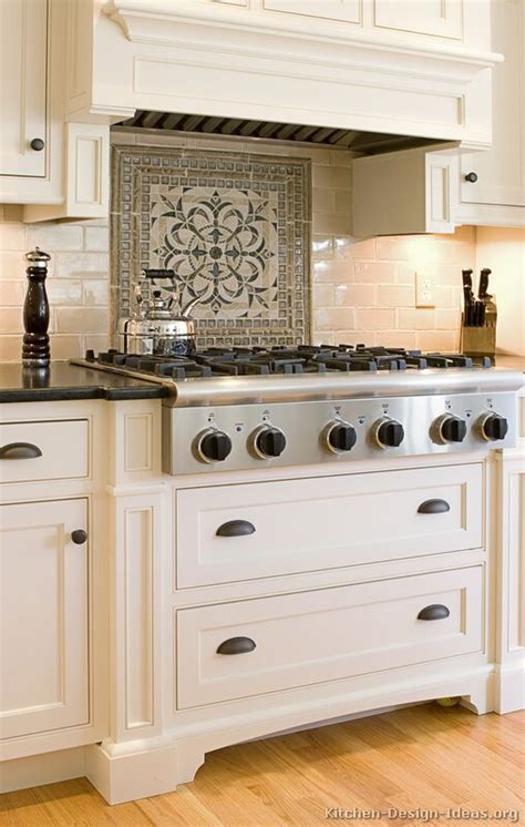 kitchen tile designs behind stove deductour com simple clean field tiles with bold medallion detail above