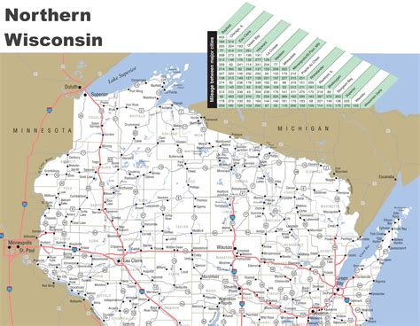 map of northern map of northern wisconsin