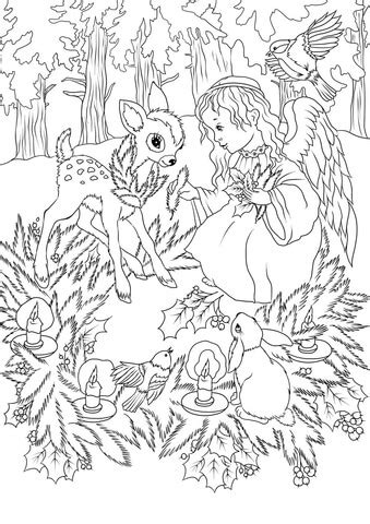 christmas angel  animals coloring page