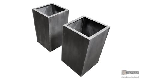 Sheet Metal Planters by Darkened Custom Zinc Planters With Inner Flange Shipping