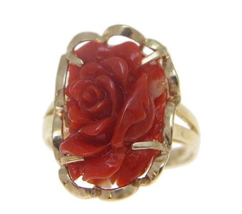 Carved Flower Rings 5 by Genuine Coral Carved Flower Ring Set In Solid