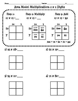Window Boxes Australia - 4 nbt 5 area model multiplication worksheet 2 digit x 2 digit tpt