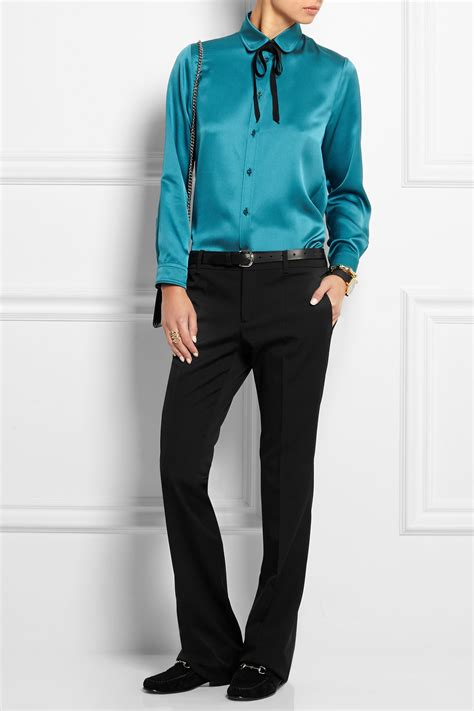 Ff Blouse Gucci 1 lyst gucci silk satin blouse in blue