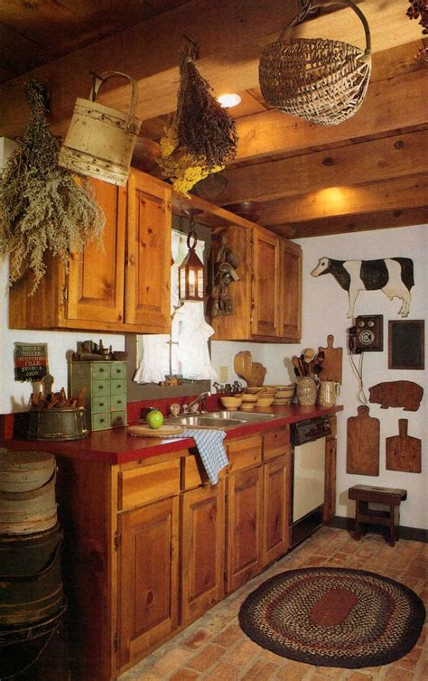 Primitive Kitchen Ideas Prim Kitchen Country Decorating Kitchens Hanging Baskets And Bricks