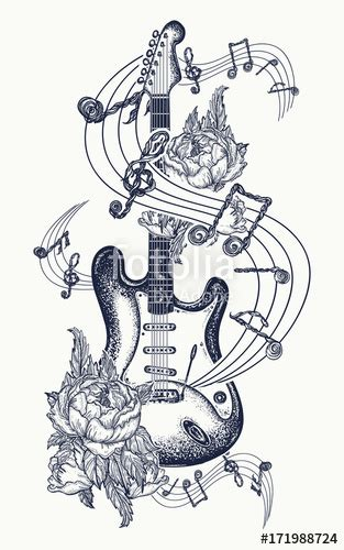 quot guitar tattoo electric guitar roses and music notes