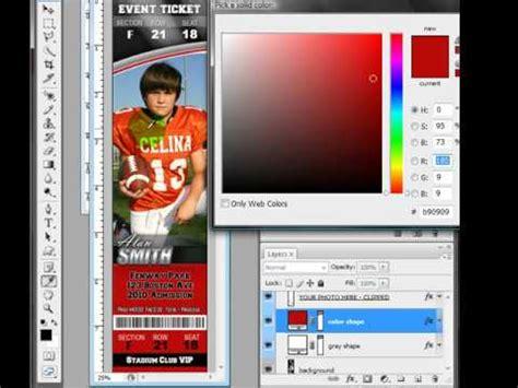 Prolines Vol 2 Sports Ticket Customization In Photoshop Youtube Sports Ticket Template Photoshop