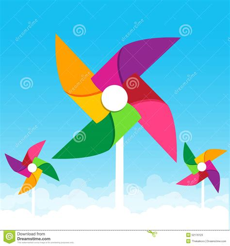How To Make Wind Fan With Paper - colorful paper wind turbine on blue sky background vector