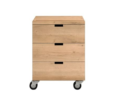 Wooden Drawer Units solid wood office drawer unit with casters billy by ethnicraft