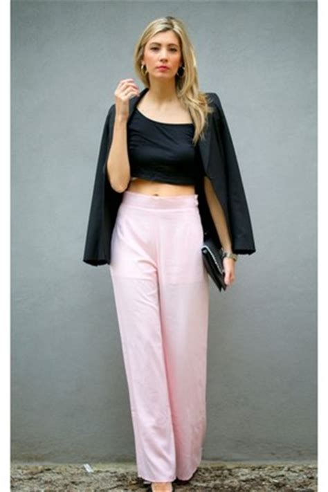 light pink palazzo pants black tom top top light pink in love with fashion pants