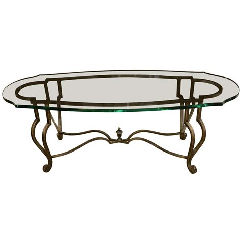 oval metal and glass cocktail table circa 1960 at 1stdibs